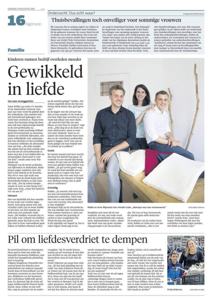 Wikkelgoed in Noord-Hollandse regiokranten